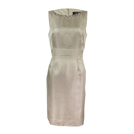 bc2296e0 Shop Tahari ASL Women's Embellished Textured Sheath Dress - Champagne Gold  - On Sale - Free Shipping Today - Overstock - 17572968