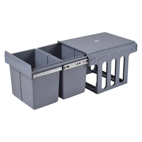 Costway Household Kitchen Pull Out Recycling Waste Bin Rubbish Trash