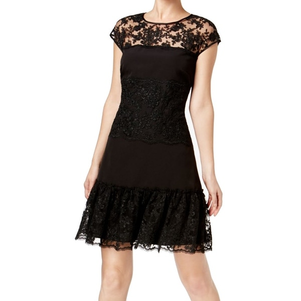 MSK Black Womens Size 8 Lace Stripe Fit And Flare A-Line Dress