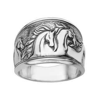 Kabana Etched Horse Ring in Sterling Silver - White