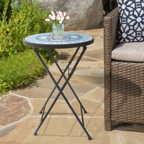 Lori Blue, Black and White Mosaic Folding Side Table