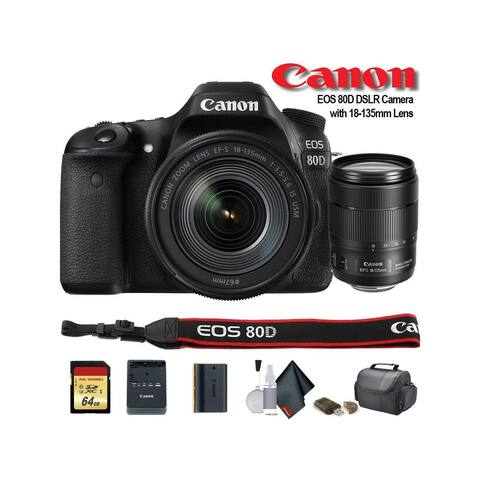Canon EOS 80D DSLR Camera with 18-135mm Lens (1263C006) - Starter
