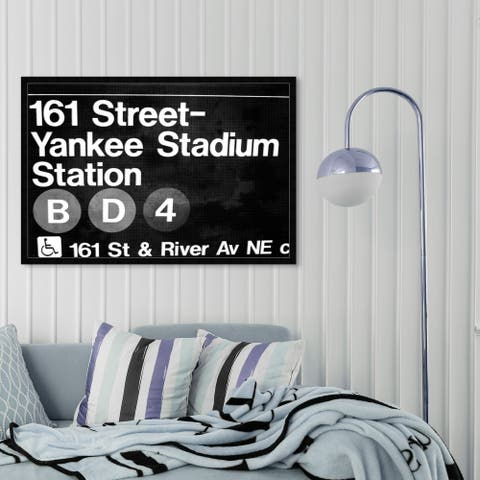 Oliver Gal 'Yankee Stadium' Cities and Skylines Framed Wall Art Prints United States Cities - Black, White