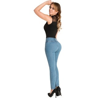 Butt Lifter Skinny Jeans High Rise Waist Authenthic Levanta Cola Colombianos Light Blue 500LB by Fio (3 options available)