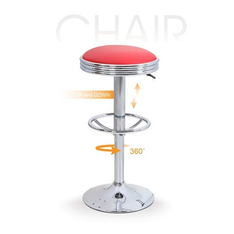 ALPHA HOME Swivel Bar Stool Counter Height Round PU Leather with Chrome Footrest -1 pc