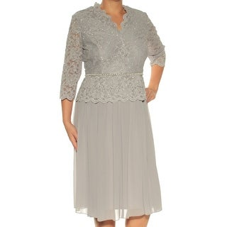Womens Gray 3/4 Sleeve Below The Knee Fit + Flare Evening Dress Size: 14