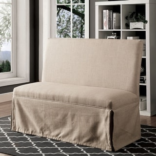 Furniture of America Cols Transitional Linen Fabric Loveseat Bench