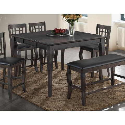 Best Master Furniture Brown Wood Square Counter-height Table