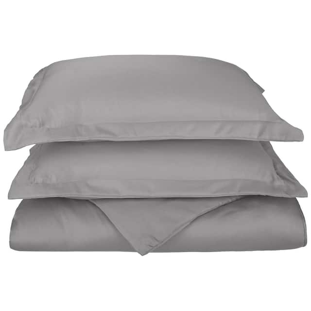 Miranda Haus 600-Thread Count Cotton Solid Hemstitch Duvet Cover Set - Grey - Full - Queen