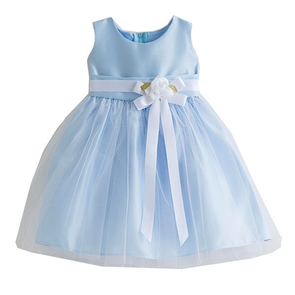 14dadce1d5 Shop Sweet Kids Baby Girls Light Blue Floral Accent Flower Girl Dress 6-24M  - Free Shipping On Orders Over  45 - Overstock - 25581364