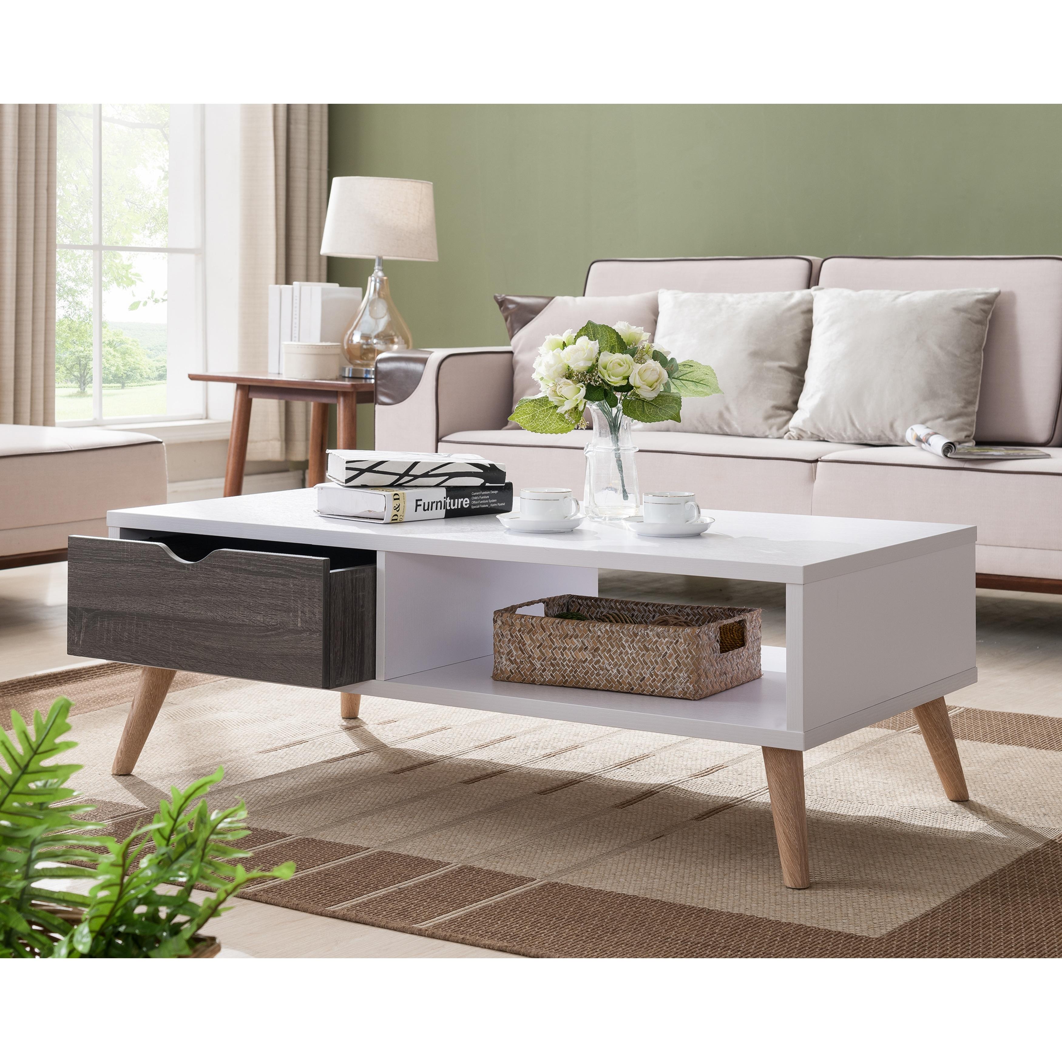 - Shop Furniture Of America Bjua Modern Grey Drawer Coffee Table