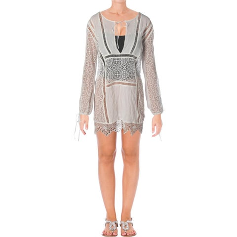 For Love & Lemons Womens Lace Long Sleeves Dress Swim Cover-Up - L