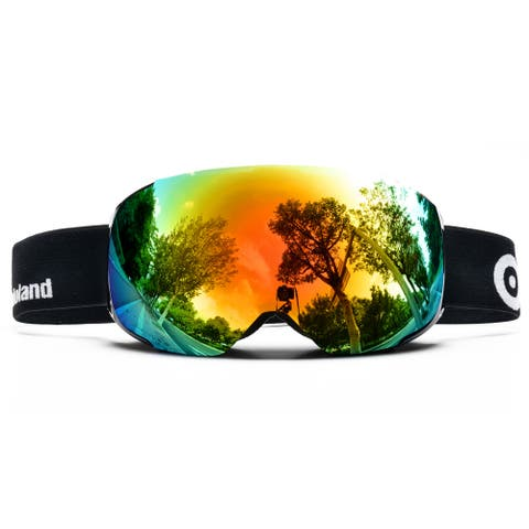 ODOLAND Anti-Fog Ski Goggles Snowboard Goggles w/ Magnetic Detachable Lens Double Spherical Lens Black