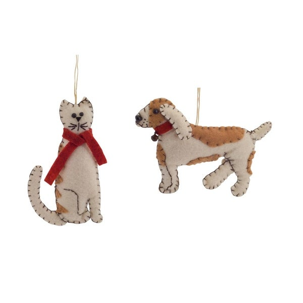Club Pack of 12 Stitched Dog and Cat Hanging Christmas Ornaments 5""