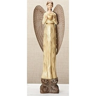16 Ivory and Gold Damask Angel Holding a Golden Heart Figurine