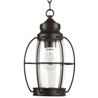 "Park Harbor PHEL2901 West Rock 8"" Wide Single Light Outdoor Mini Pendant with Lantern Style Cage and Seedy Glass"