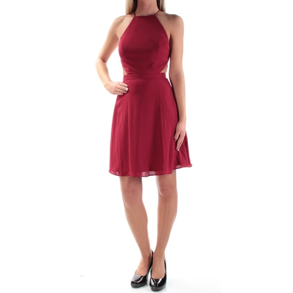 FAME AND PARTNERS Womens Red Backless Sleeveless Halter Above The Knee Fit + Flare Cocktail Dress Size: Size 0