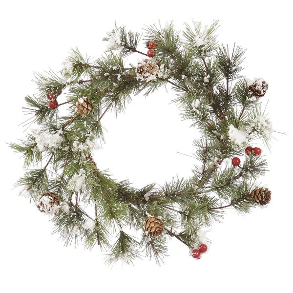 "12"" Heavily Flocked Monterey Pine Artificial Christmas Wreath with Berries - Unlit"