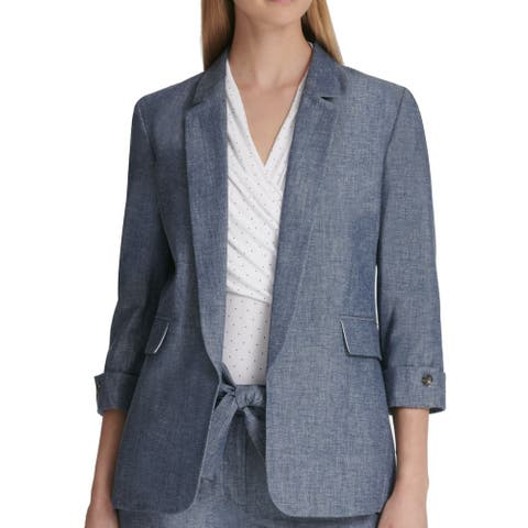 DKNY Women's Jacket Blue Size 16 Chambray Open Front Notch Collar