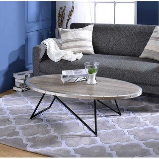 Coffee Table In Weathered Gray Oak - Particle Board, Metal Weathered Gray Oak