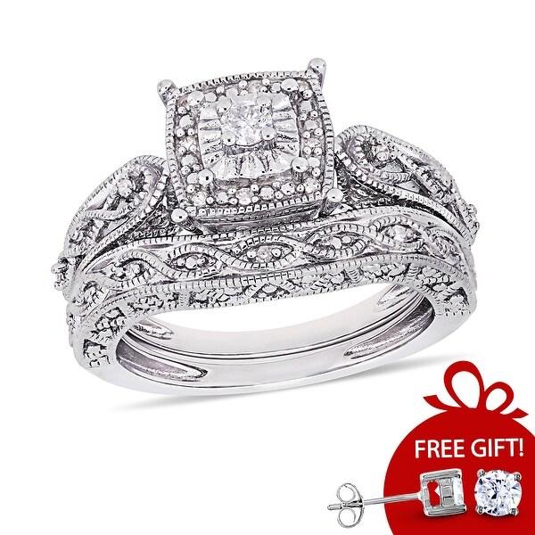 Infinity Milgrain Sterling Silver 1/5ct TDW Diamond Bridal Set by Miadora. Opens flyout.
