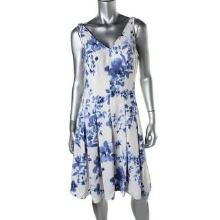 Lauren Ralph Lauren Womens Floral Print Pleated Casual Dress