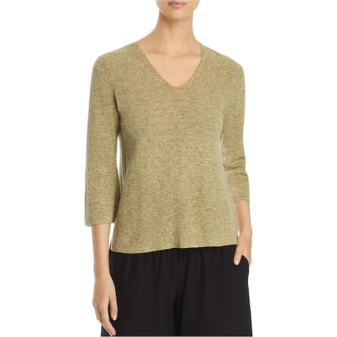 Eileen Fisher Womens V-Neck Pullover Sweater, Green, Large