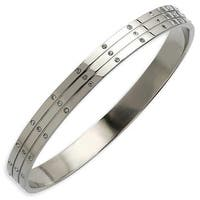 Chisel Stainless Steel Polished with CZs Bangle