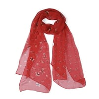 Long Chiffon Beach Scarf Silk Scarves Floral Scarves for Women Red
