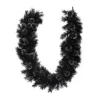 "6' x 9"" Battery Operated Black Bristle Artificial Christmas Garland - Warm White LED Lights"