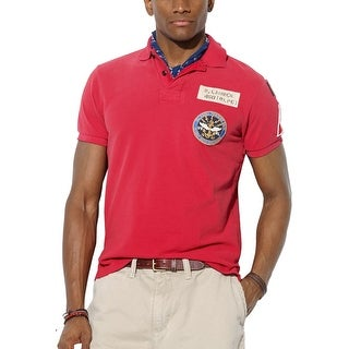 Polo Ralph Lauren RL Mens Custom Fit Patch Polo Shirt Red X-Large