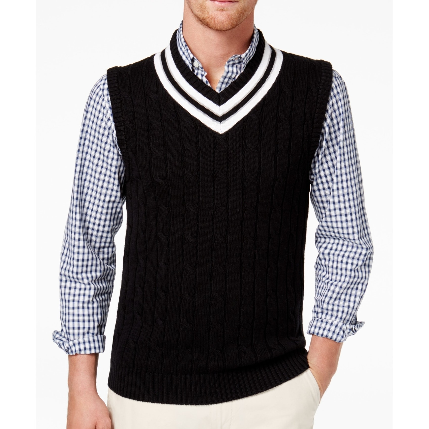 NEW MENS CLUB ROOM V NECK CABLE KNIT COTTON SWEATER VEST