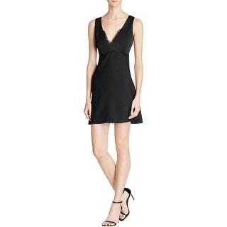 Aqua Womens Casual Dress Mixed Media Lace Inset