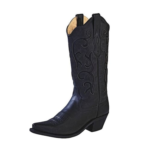 Old West Cowboy Boots Womens Stitching Leather Insole Black