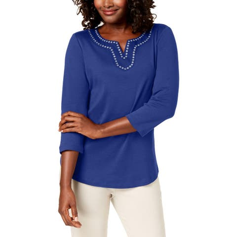 Karen Scott Womens Pullover Top Grommet Long Sleeves