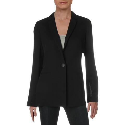 Lafayette 148 New York Womens Samson One-Button Blazer Wool Suit Separate - Black