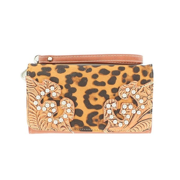 Nocona Western Wallet Womens Leopard Floral Tooled - 7 1/2 x 4 1/2