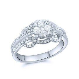 0.65ctw Diamond Bridal Ring 14K White Gold 10mm Wide 2ct Size Center Cluster By MidwestJewellery