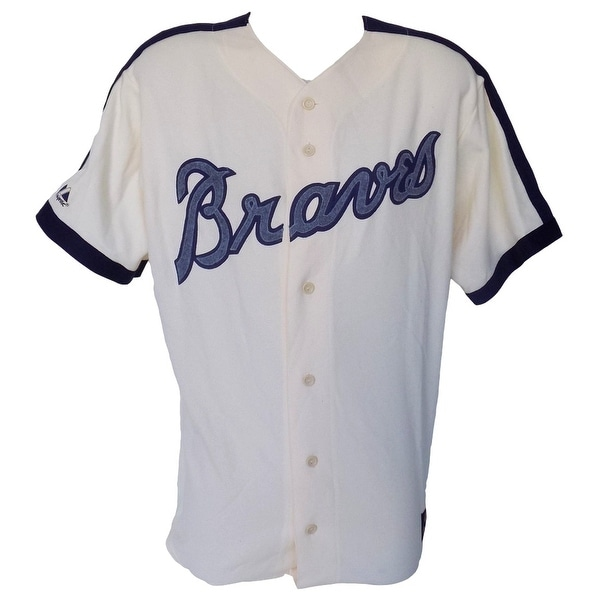 bc3042db4 Shop Atlanta Braves Majestic Cooperstown Collection Cream Jersey Size 2XL -  Free Shipping Today - Overstock - 14551883