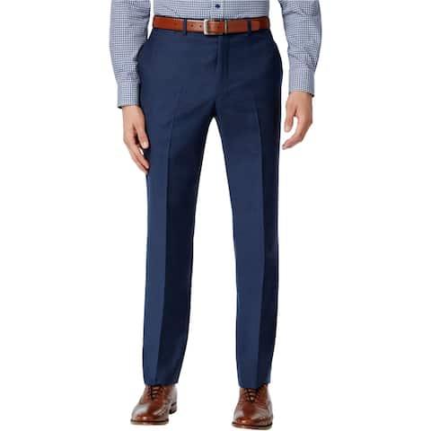 Tommy Hilfiger Mens Sharkskin Modern Fit Dress Pants Slacks, Blue, 34W x 34L