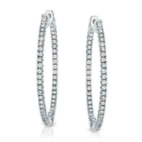 Auriya 14k Gold 2 carat TW Large Diamond Hoop Earrings - 1.8-inch