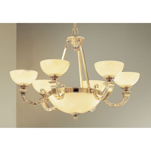 """Classic Lighting 5628 21"""" Alabaster Chandelier from the Mallorca - Antique Bronze"""