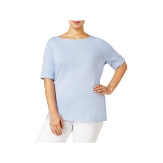 Karen Scott Womens Plus T-Shirt Heathered Cuff Sleeves