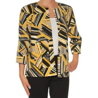 Womens Yellow Printed Long Sleeve Open Cardigan Wear To Work Top Size 2