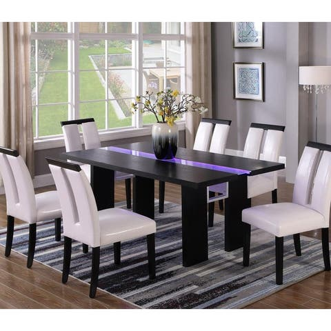 Best Master Furniture Black Wood Dining Table with LED Lighting