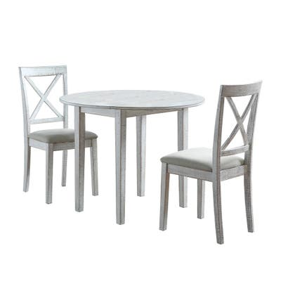Furniture of America Bechler Transitional White 3-piece Dining Set