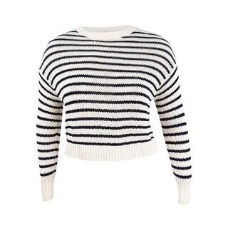 Denim & Supply Ralph Lauren Women's Striped Fringe Sweater (L, Cream/Black) - Cream/Black - l