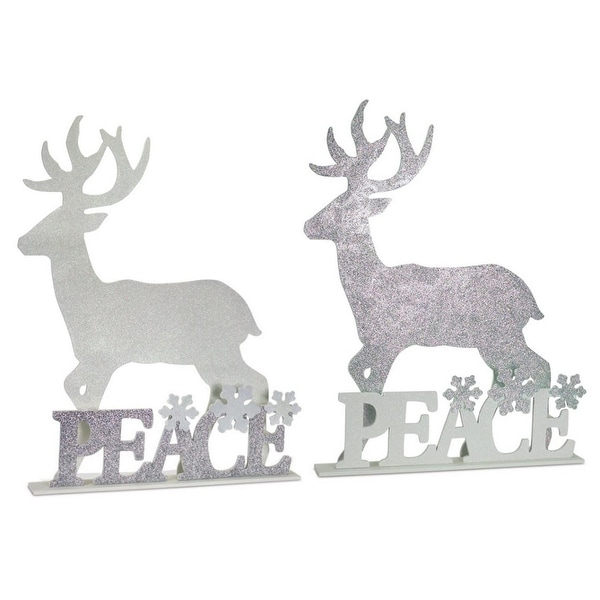 """Set of 2 Silver Colored Glitter Finish Standing Deer """"Peace"""" Christmas and Winter Decors 36"""""""