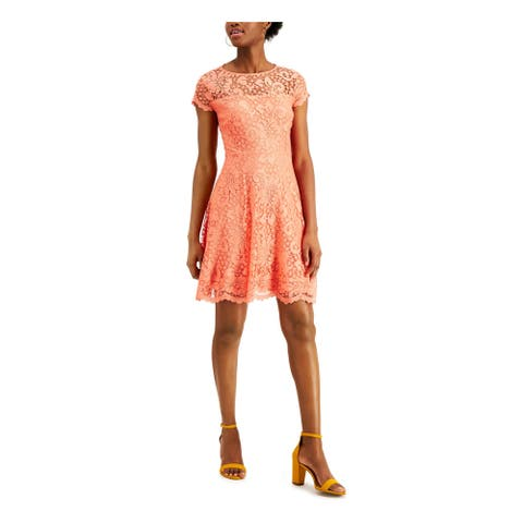 KENSIE Orange Short Sleeve Short Dress 6