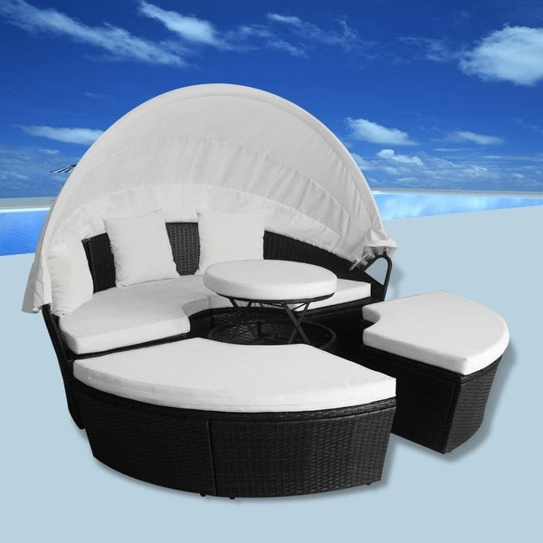 Vidaxl Sun Bed Round Poly Rattan Black